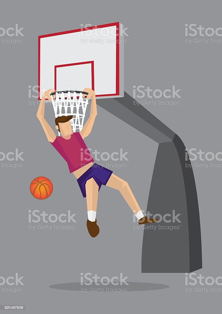 Basketball Player Elbow Hang Dunk Vector Illustration vector art illustration
