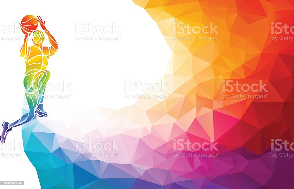 Basketball player jump shot polygonal silhouette on colorful low poly vector art illustration
