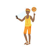 Basketball Player Taking Pictures With Photo Camera Illustration