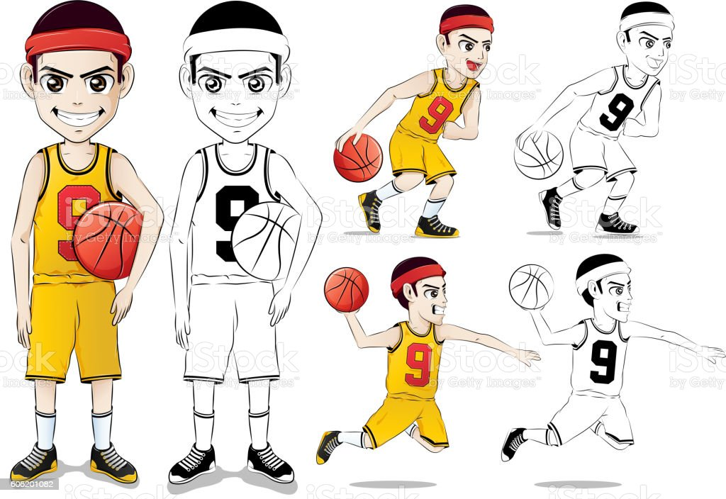 Basketball Player Vector Character Set  with Line Drawing Version vector art illustration