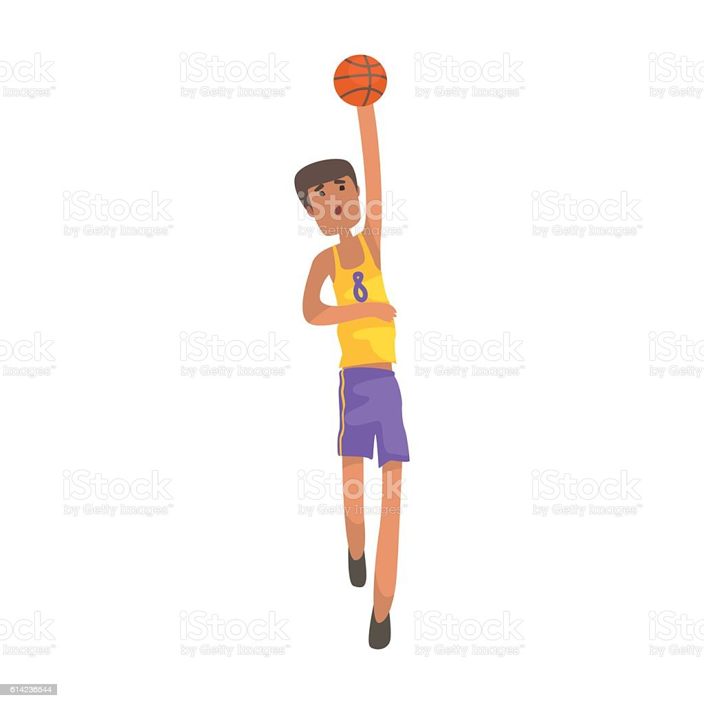 Basketball Player With The Ball Action Sticker vector art illustration