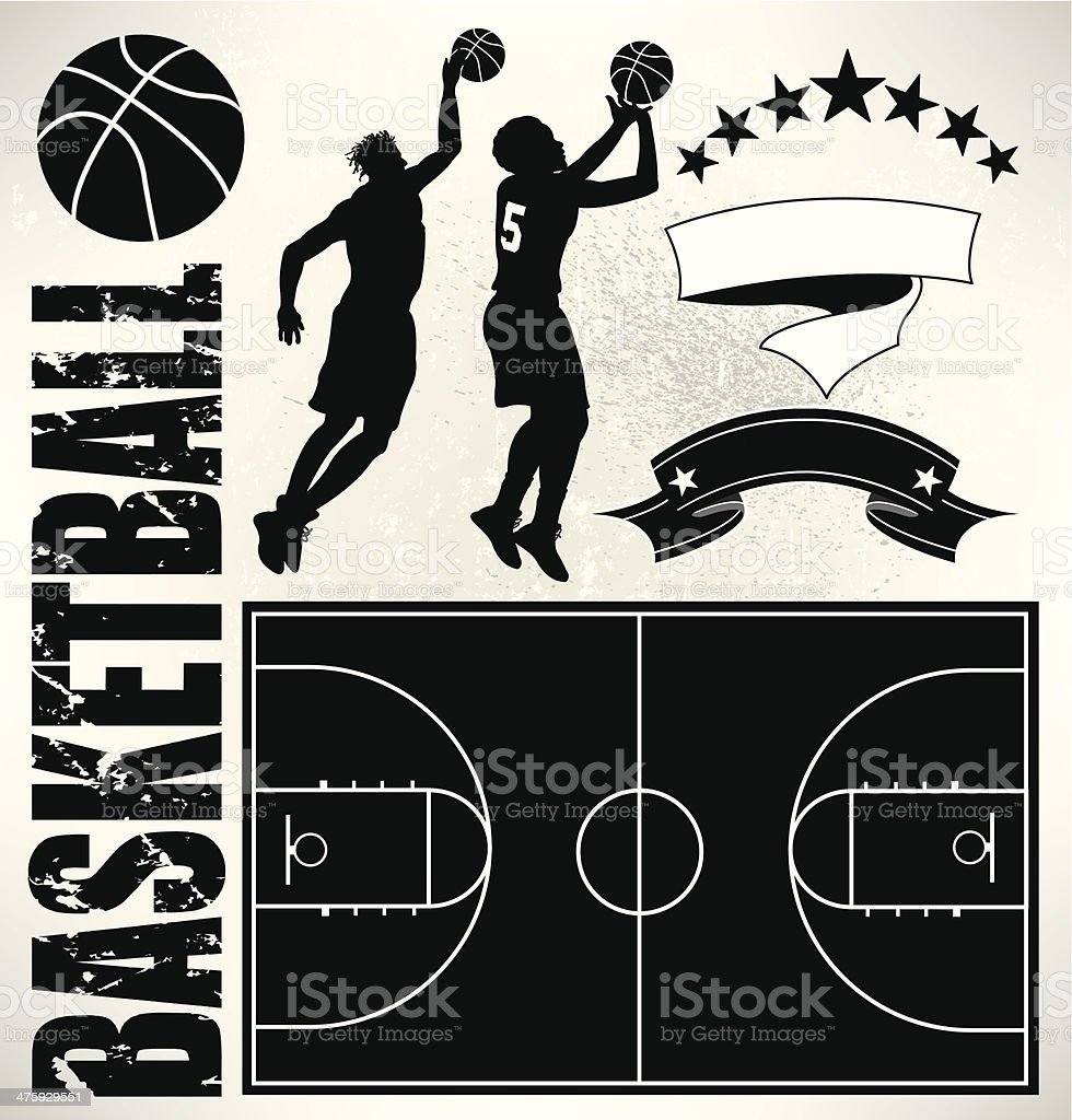 Basketball Players, Court and Ball vector art illustration