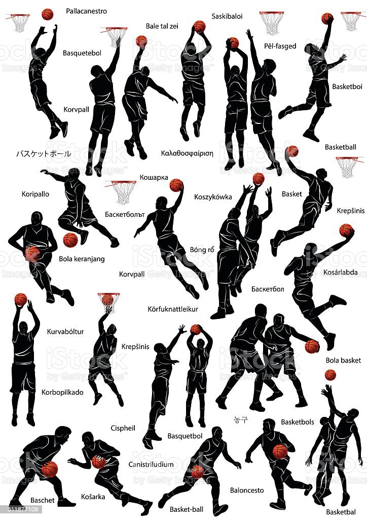 Basketball players silhouette vector art illustration