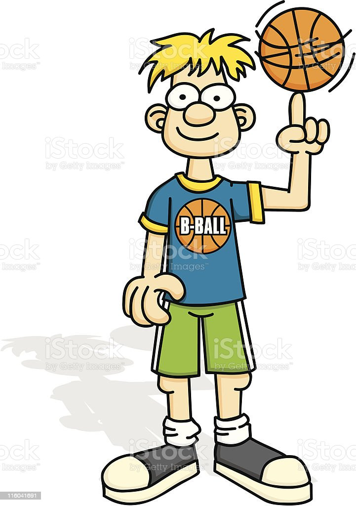 Basketball Playing Youth royalty-free stock vector art