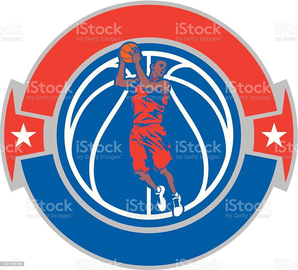 Basketball Rebound Crest vector art illustration