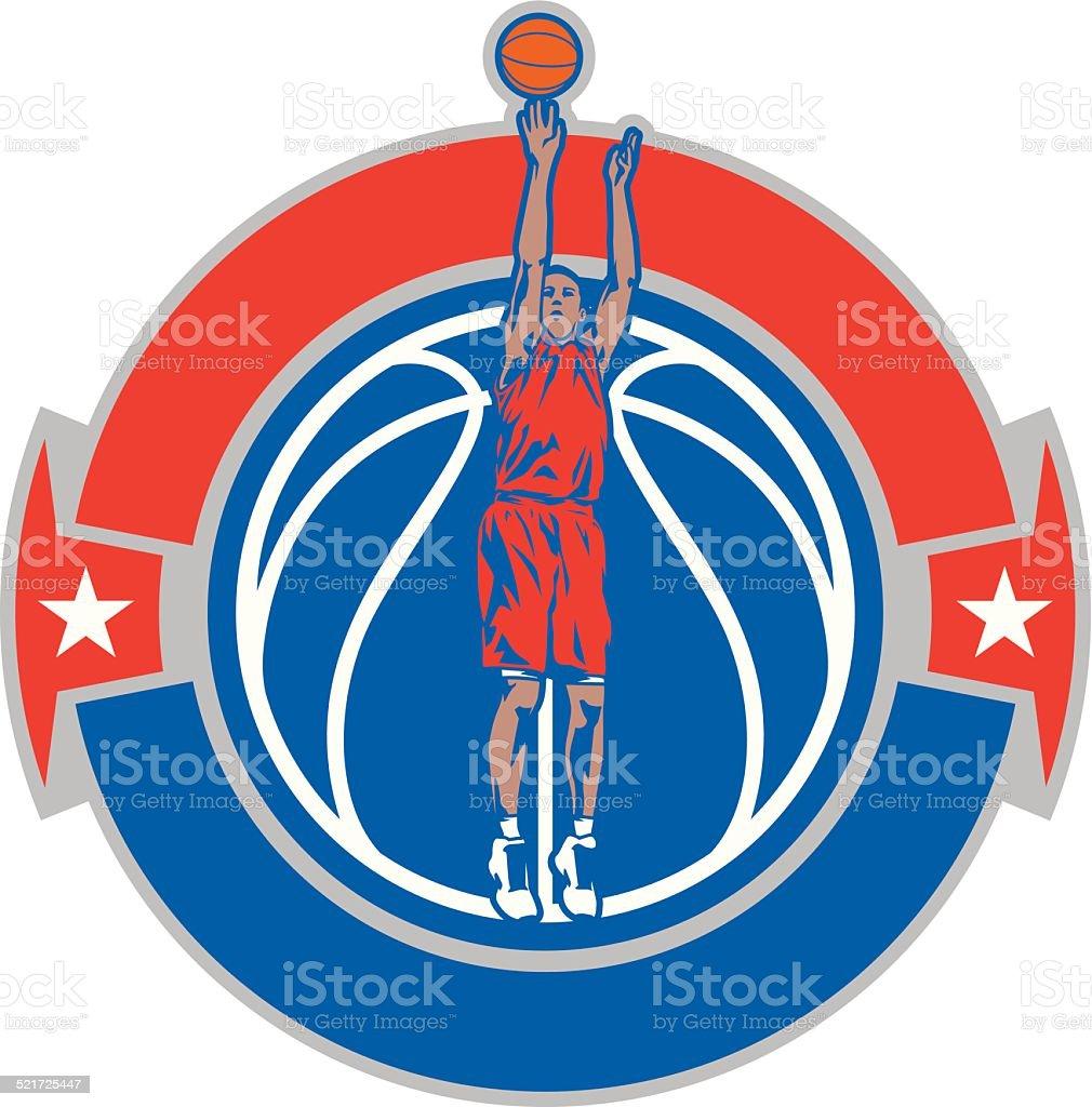 Basketball Shooting Crest vector art illustration