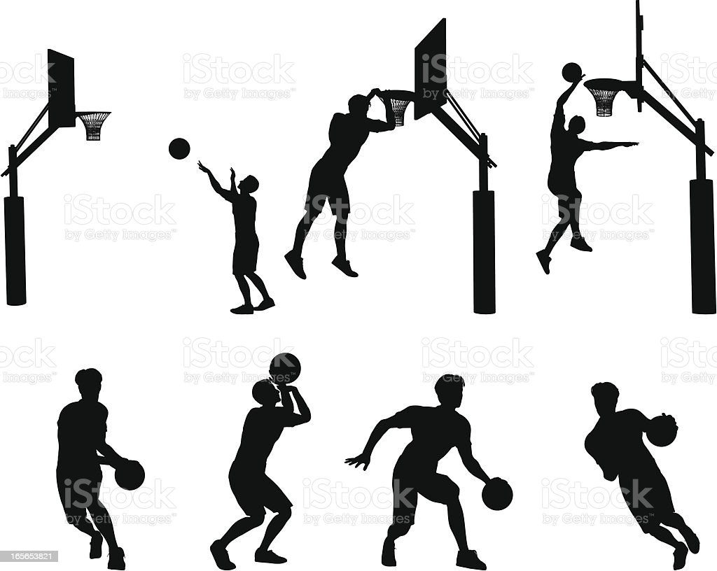 Basketball Silhouette Collection royalty-free stock vector art