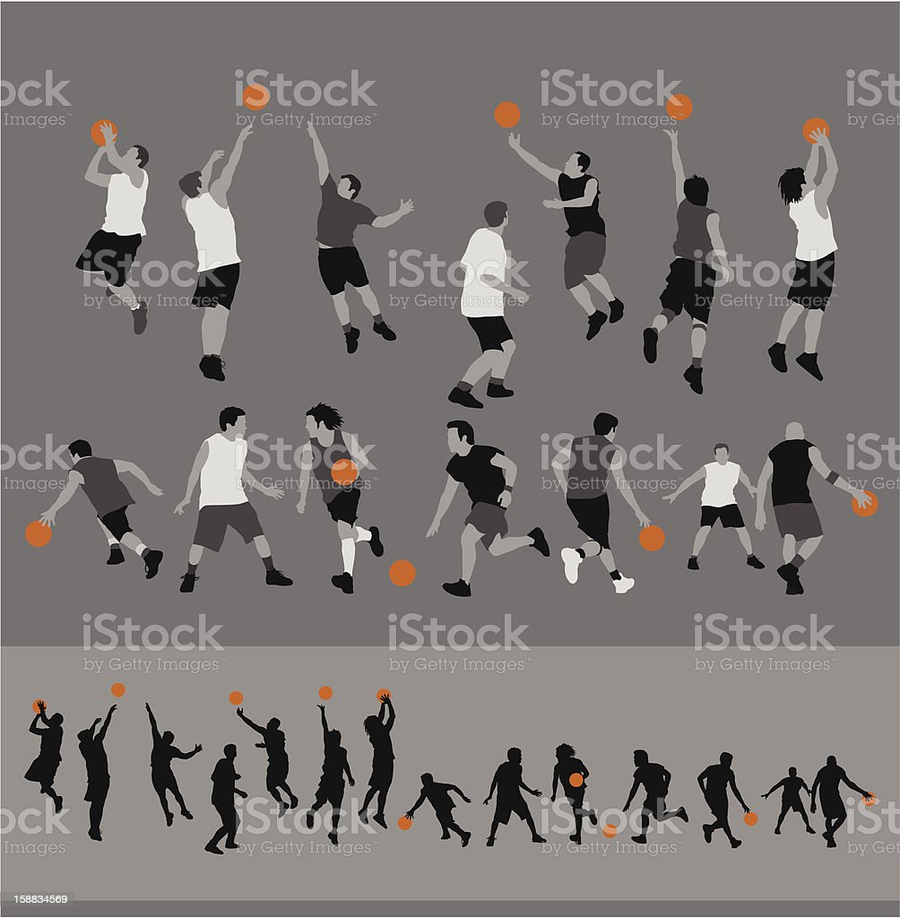 Basketball Silhouettes vector art illustration