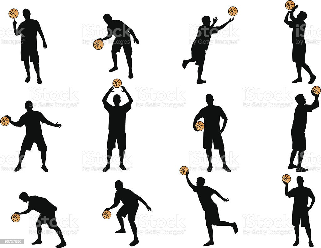 basketball silhouettes royalty-free stock vector art