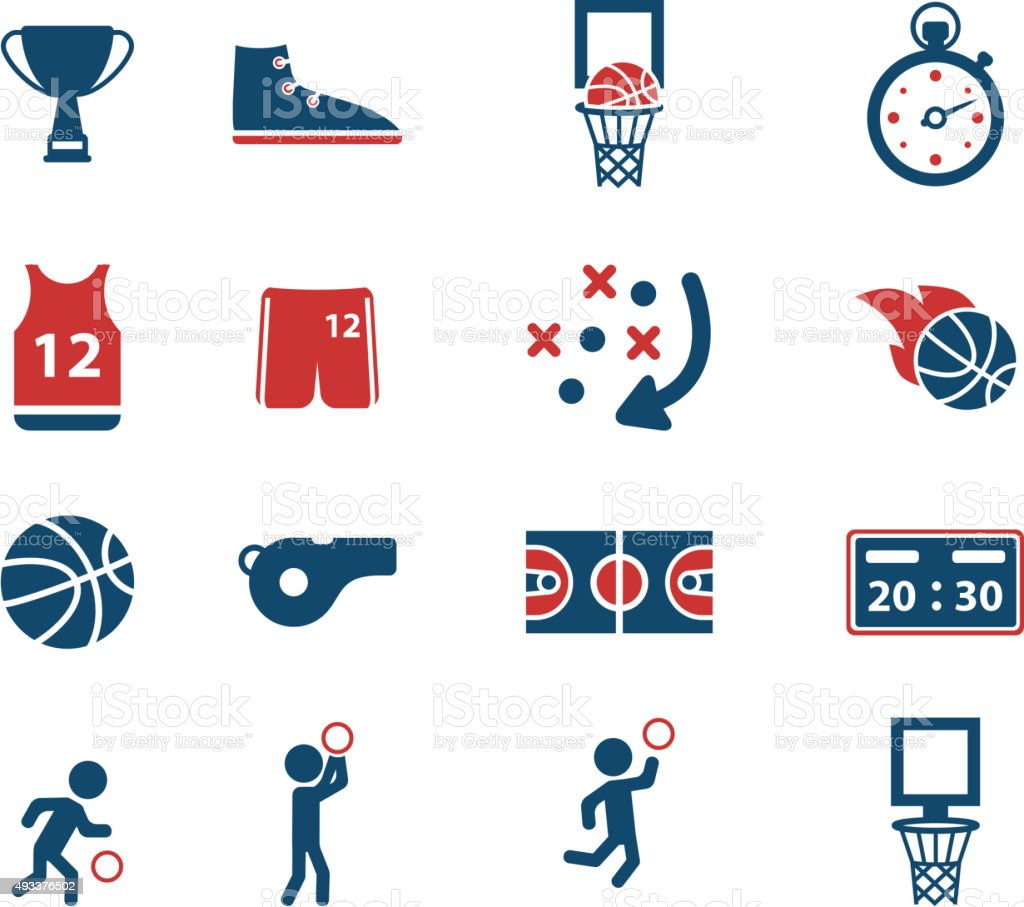 Basketball simply icons vector art illustration
