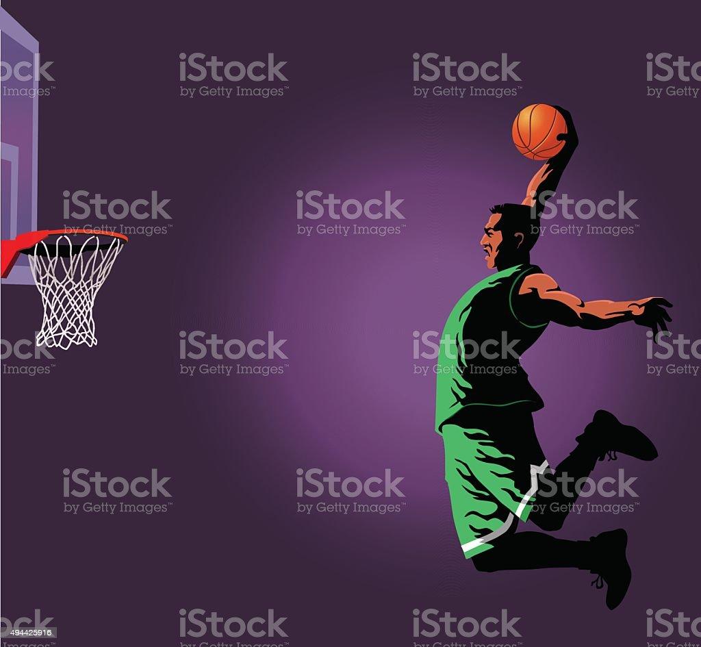 Basketball Slam Dunk Player vector art illustration