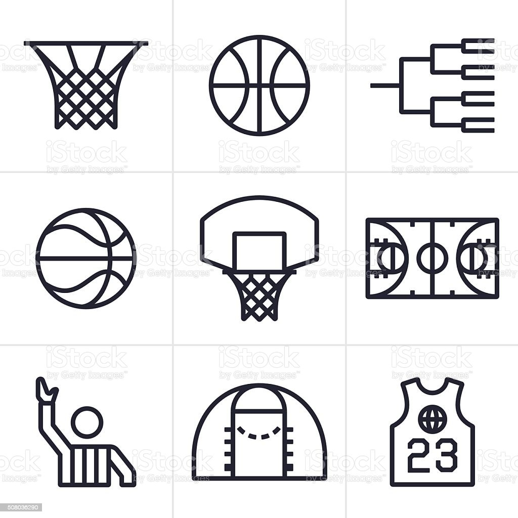 Basketball Symbols and Icons vector art illustration