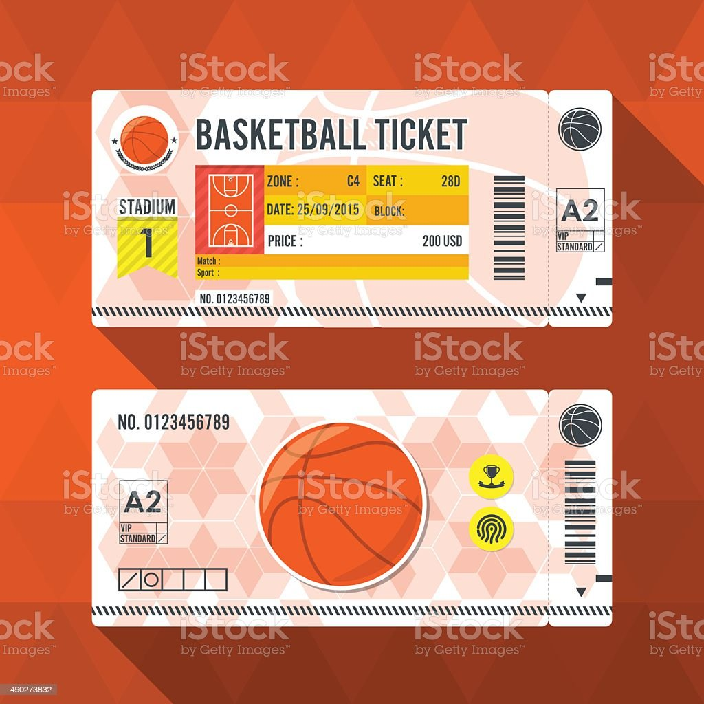 Basketball ticket card modern element design. vector art illustration