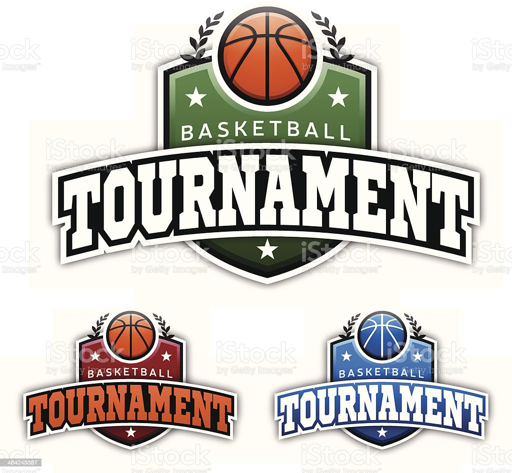 Basketball Tournament Badges vector art illustration