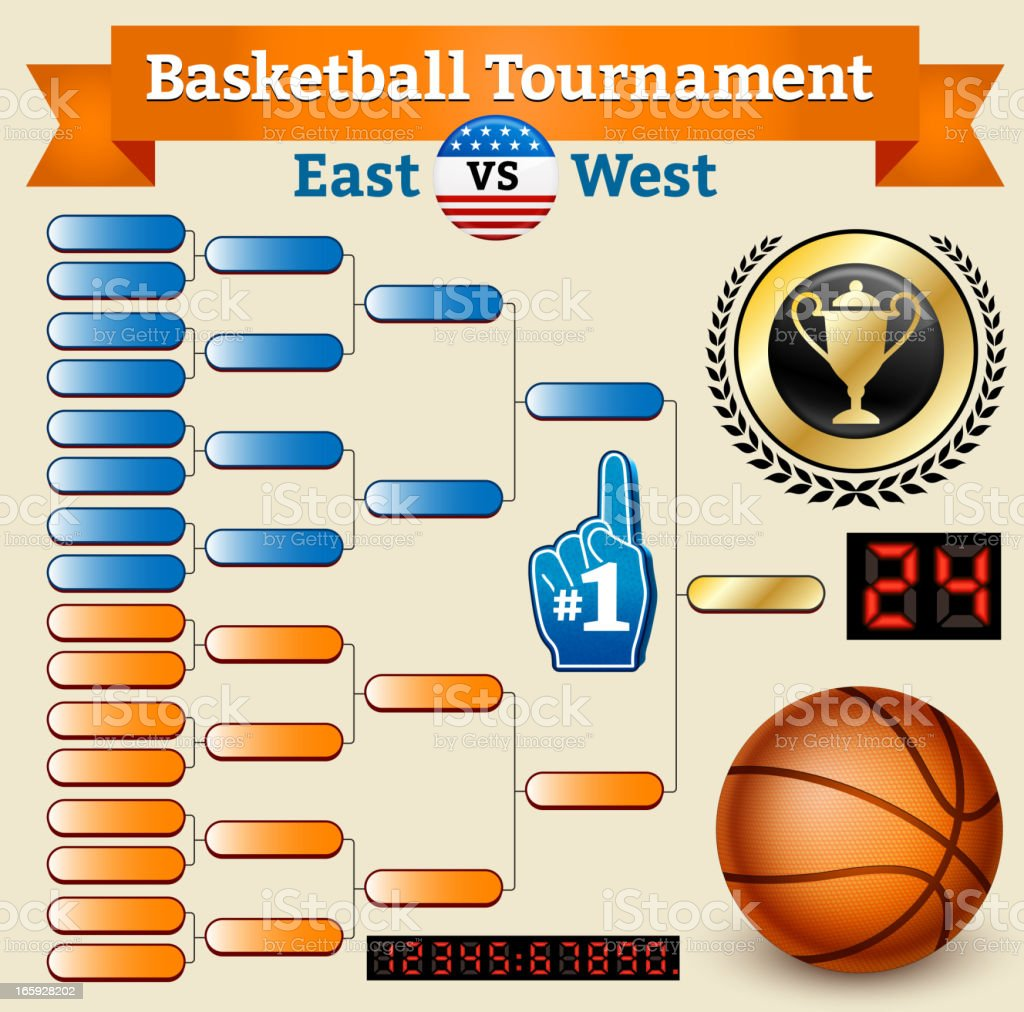 Basketball Tournament Bracket on Old Paper royalty-free stock vector art