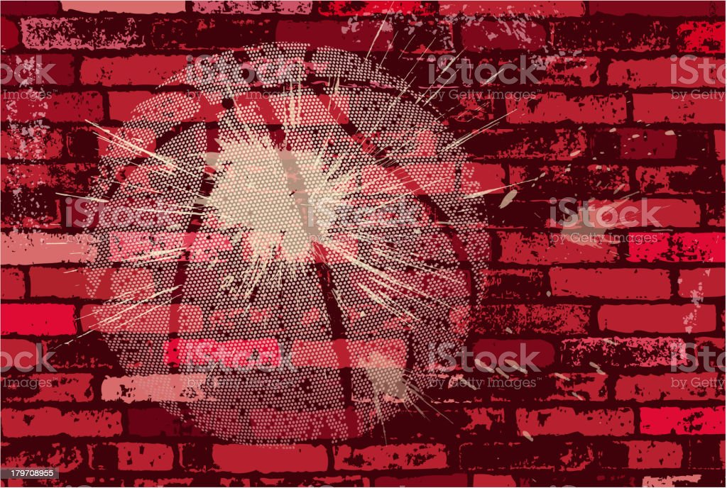basketball tracing on brick wall royalty-free stock vector art