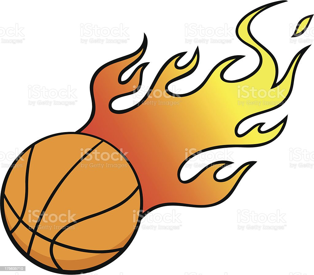 Basketball with Flames royalty-free stock vector art