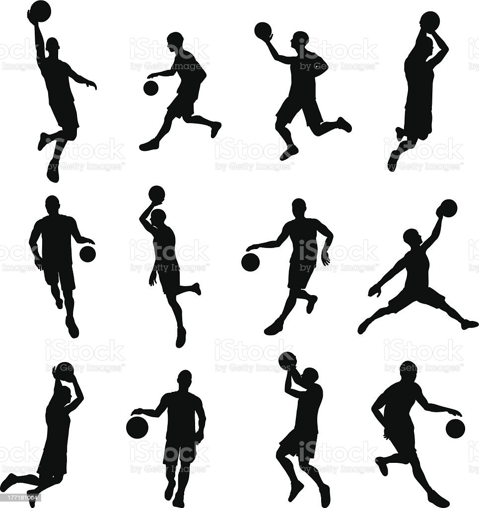 Basketballl player silhouettes vector art illustration