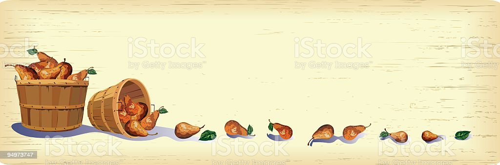 Baskets of Pears royalty-free stock vector art