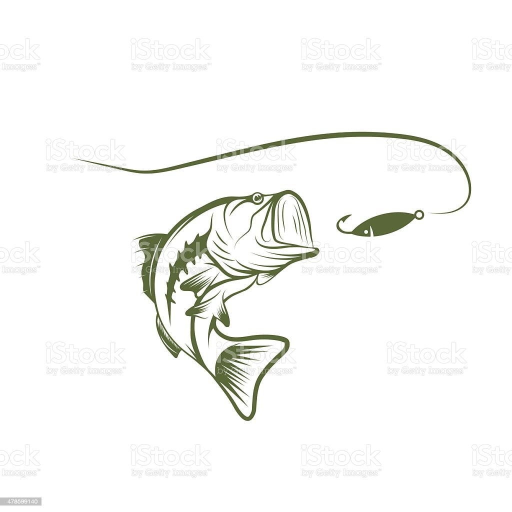 bass and lure vector design template vector art illustration