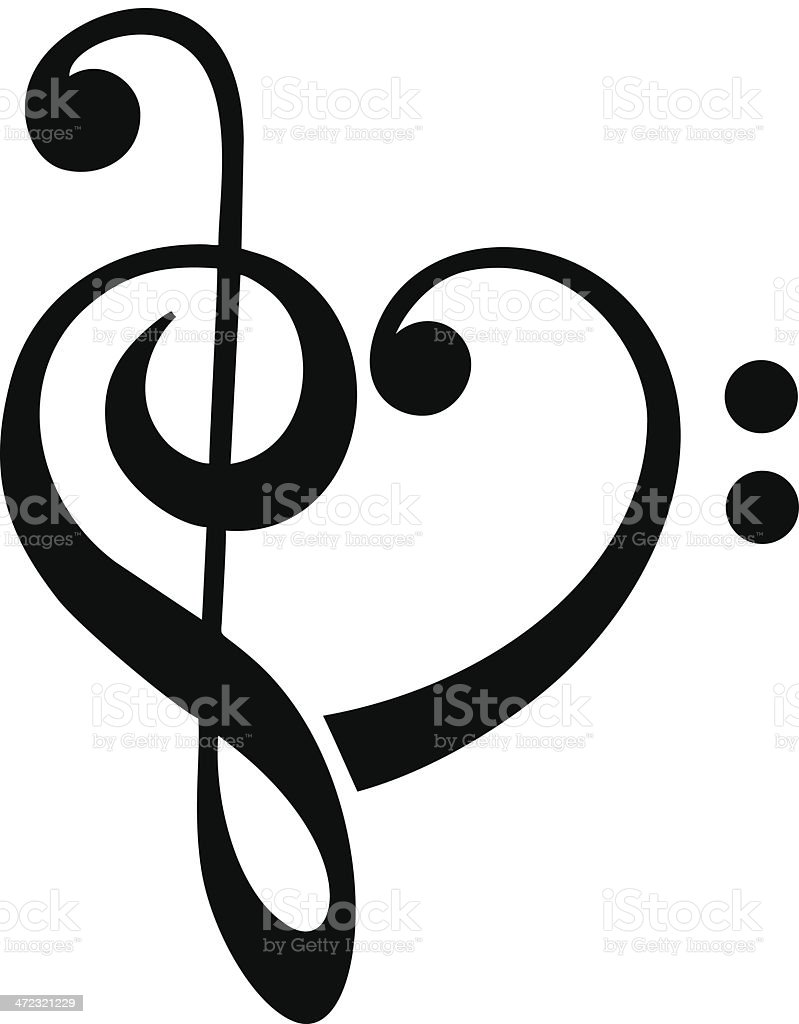 Bass and treble clef, heart, music, classic vector art illustration