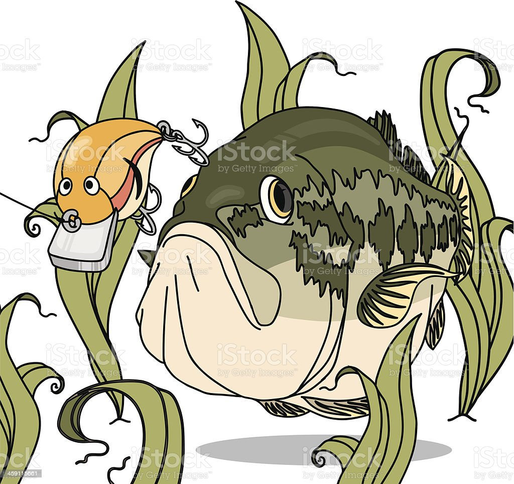 Bass ChasingLure vector art illustration