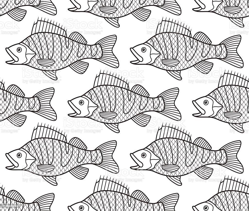 Bass fish contour seamless pattern vector art illustration