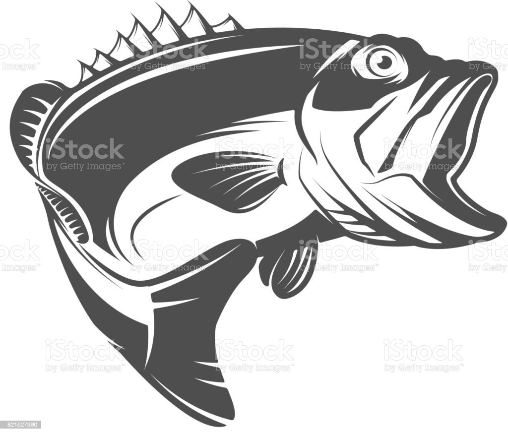Bass fish icon isolated on white background. Design element for emblem, sign, brand mark.  Vector illustration vector art illustration