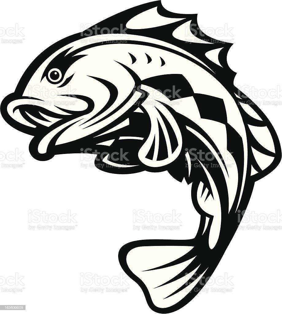 Bass Fish Jumping B&W vector art illustration