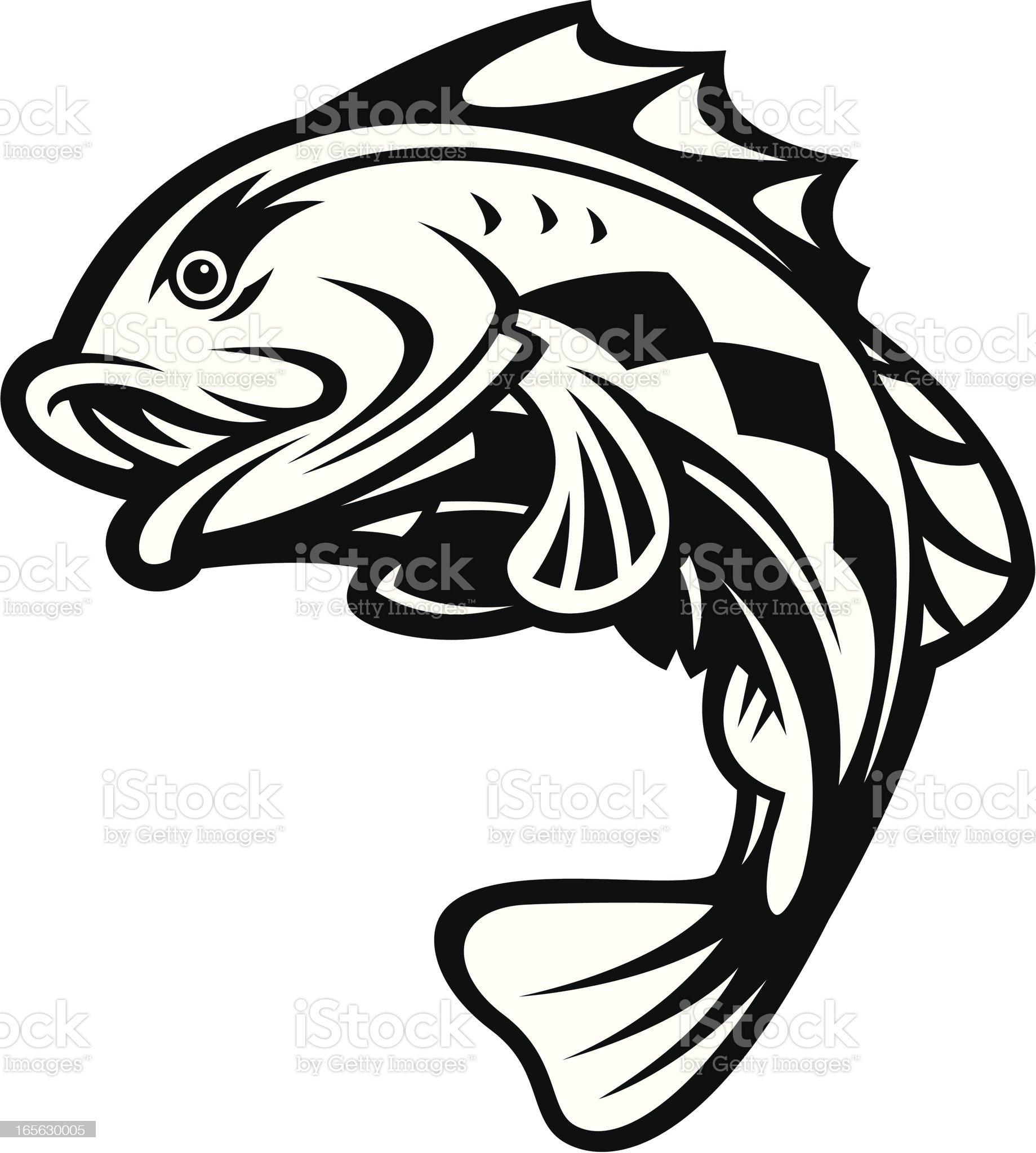 Bass Fish Jumping B&W royalty-free stock vector art