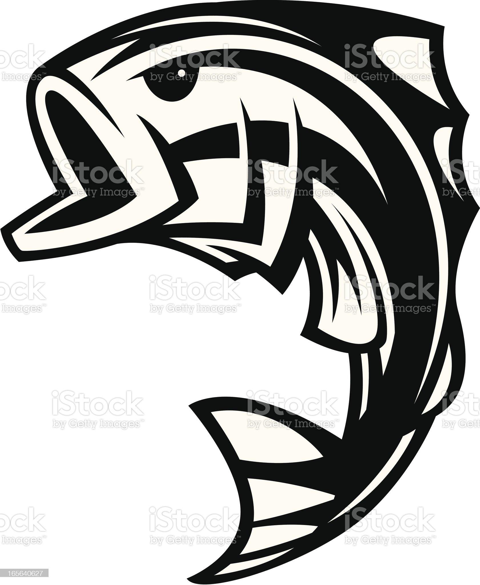 Bass Fish Jumping II B&W royalty-free stock vector art