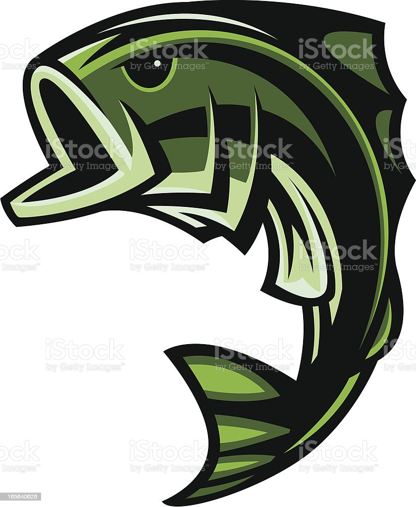 Freshwater fish jumping - Bass Fish Jumping Ii Royalty Free Stock Vector Art