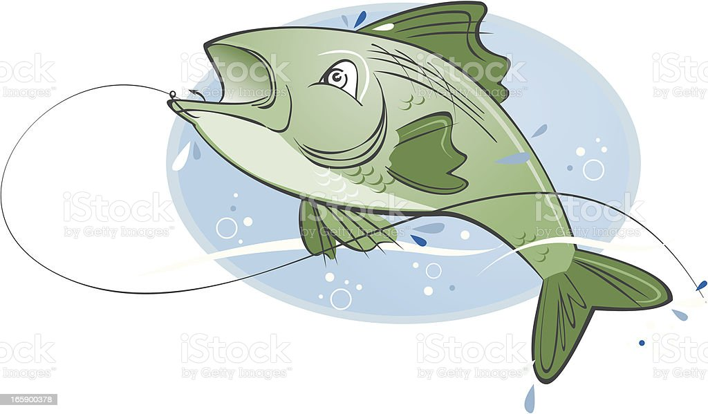 Bass Fish jumping with a hook vector art illustration