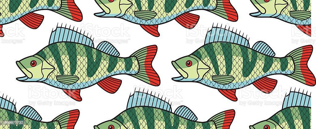 Bass fish pattern vector art illustration