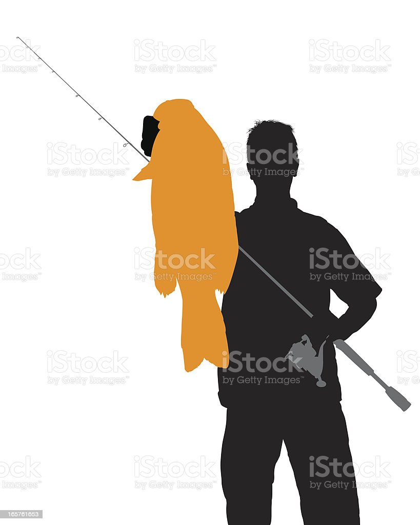 Bass Fisherman Silhouette vector art illustration