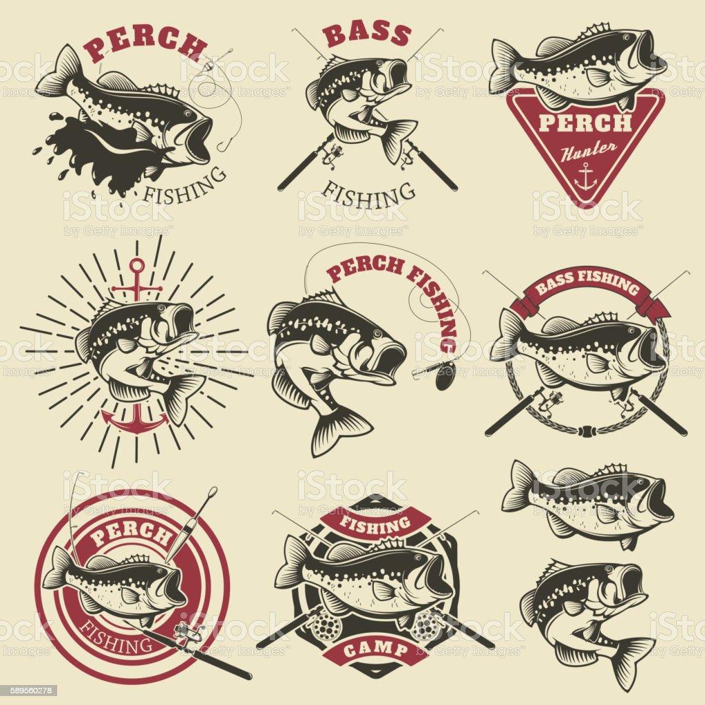Bass fishing labels. Perch fish. Emblems templates vector art illustration