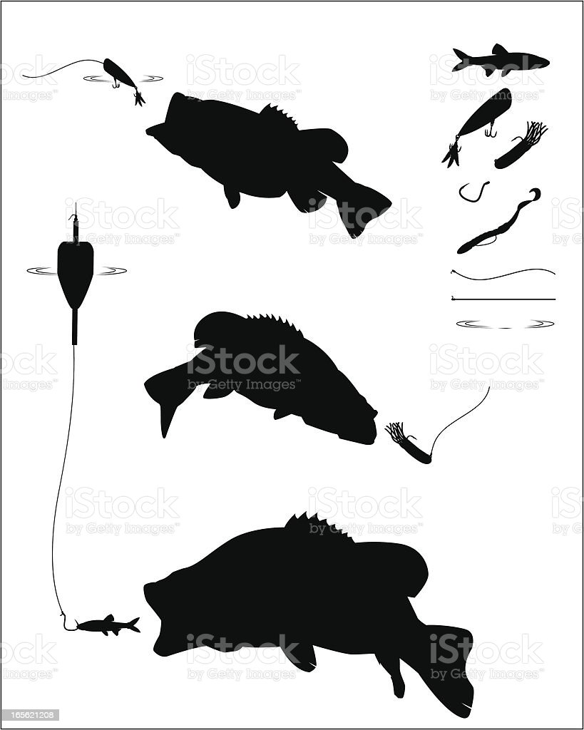 Bass Fishing Silhouette Set vector art illustration