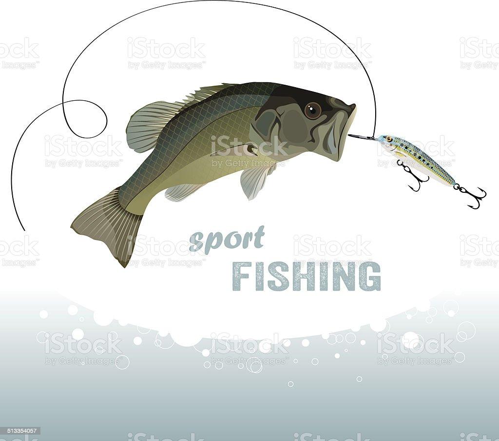 bass fishing vector art illustration