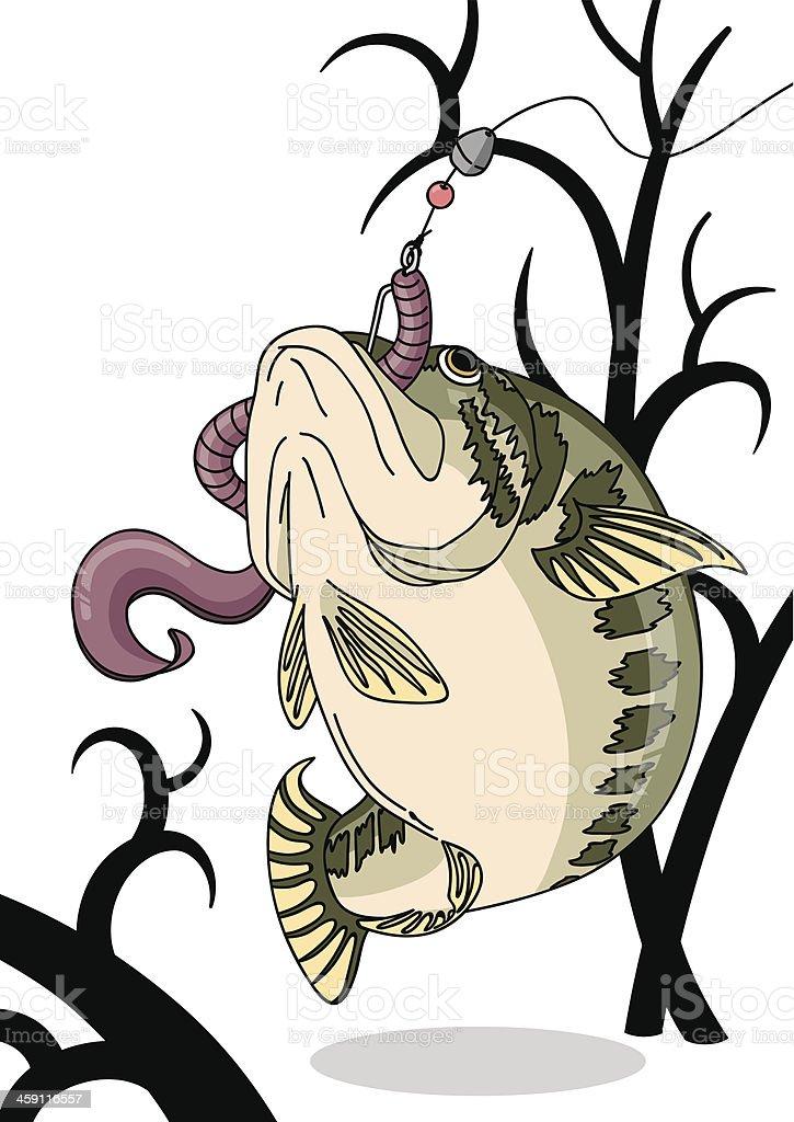 Bass_Bite_Worm vector art illustration
