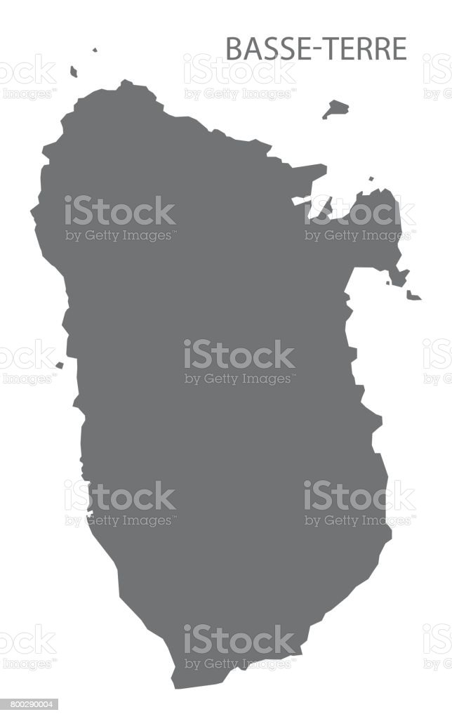 Basse-Terre Island of Guadeloupe map grey illustration silhouette vector art illustration