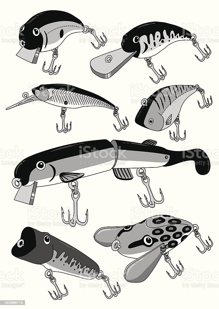 BassFishingLures vector art illustration