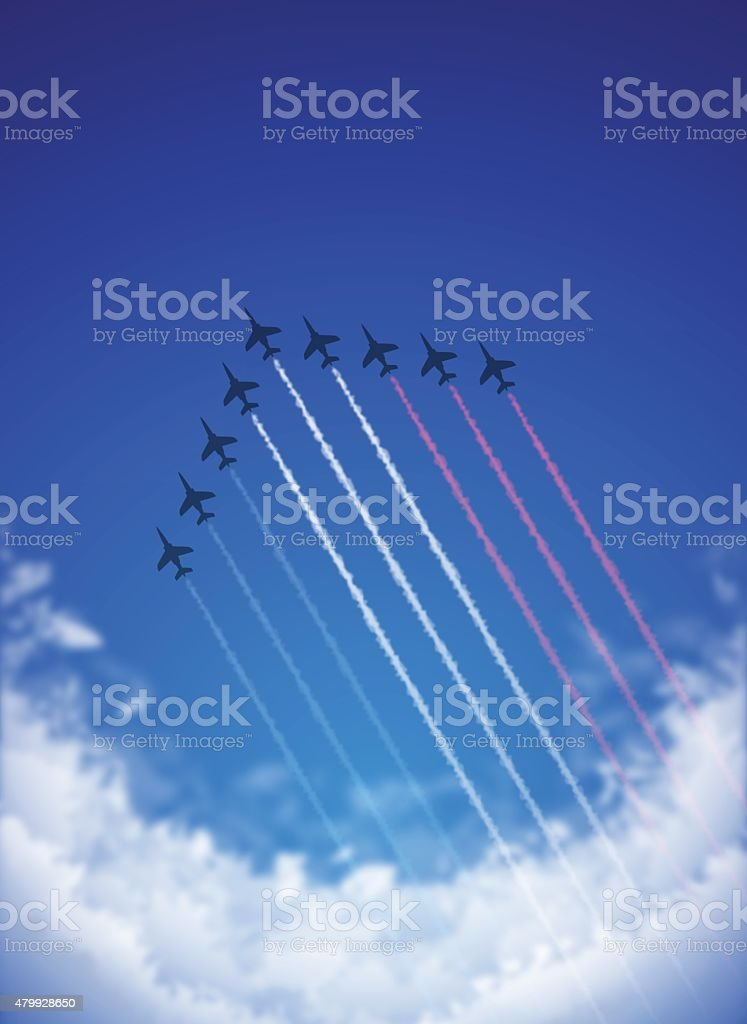 Bastille Day background[Air Show and Tricolor contrails] vector art illustration