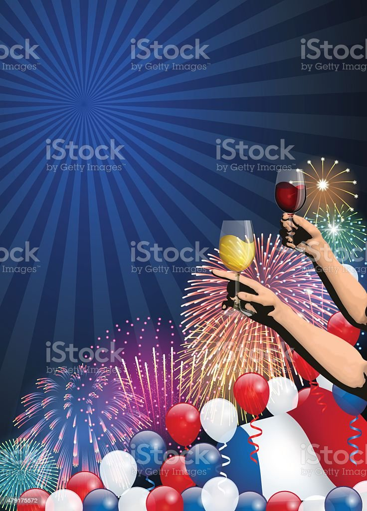 Bastille day background[Fireworks and French flag and Cheers] vector art illustration