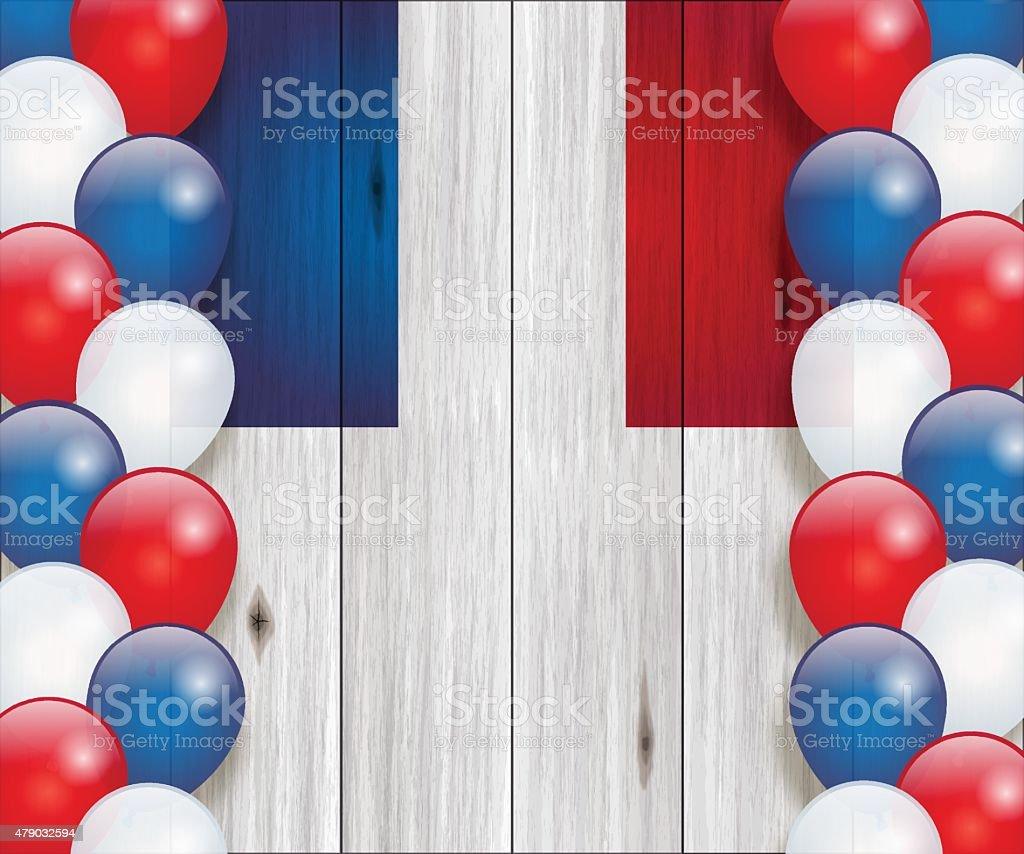 Bastille day background[French flag and balloons] vector art illustration