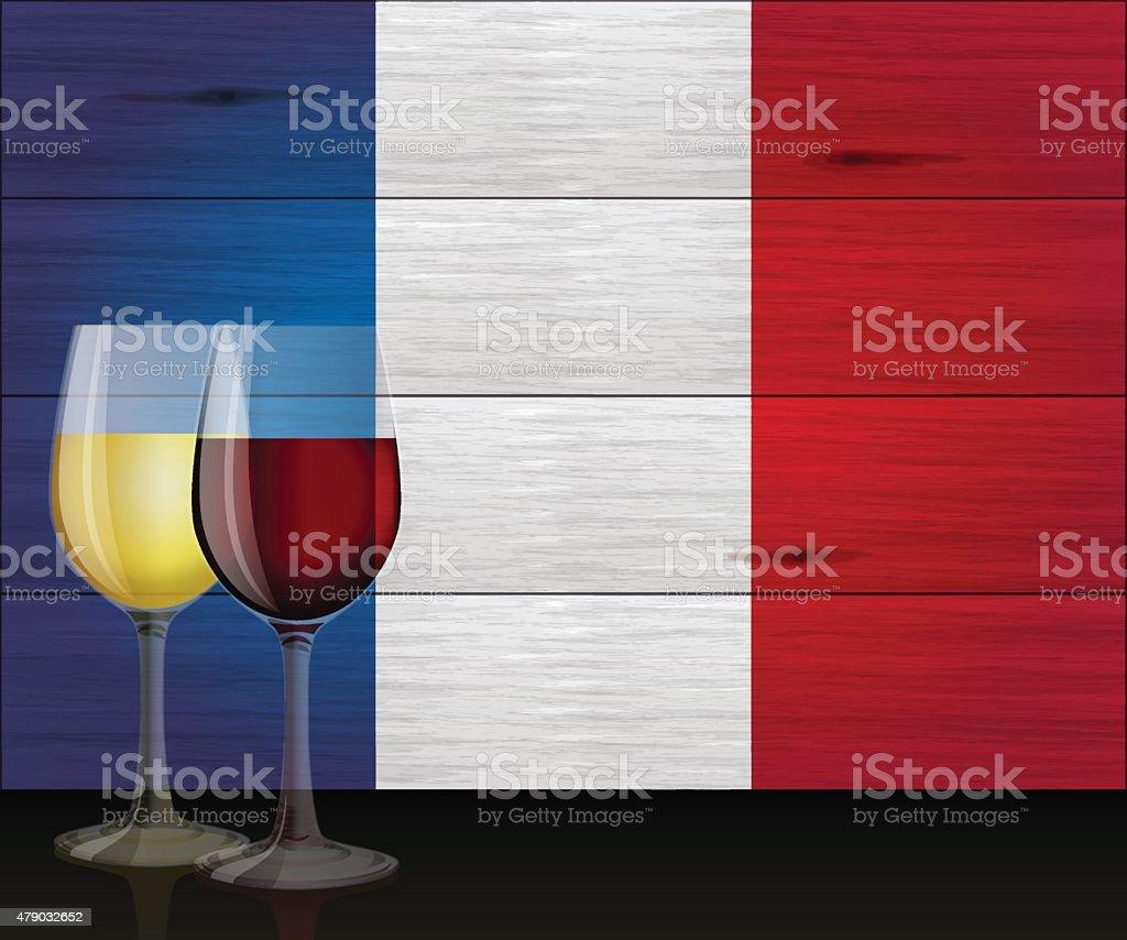 Bastille day background[Wine and French flag] vector art illustration