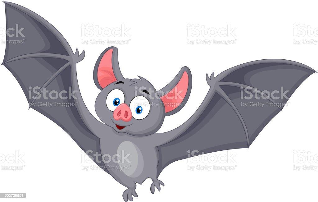 Bat cartoon flying vector art illustration