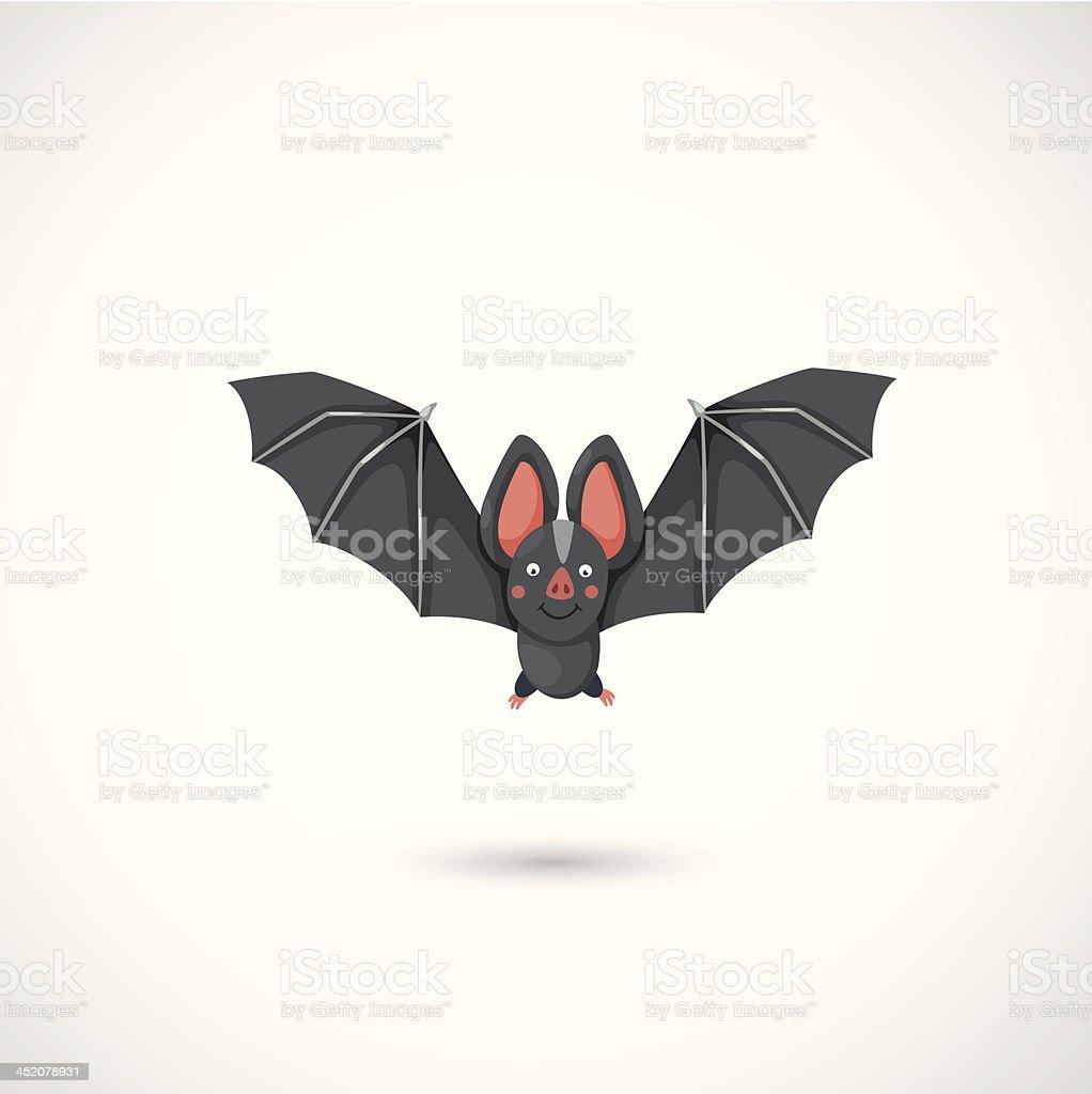 bat flying vector art illustration