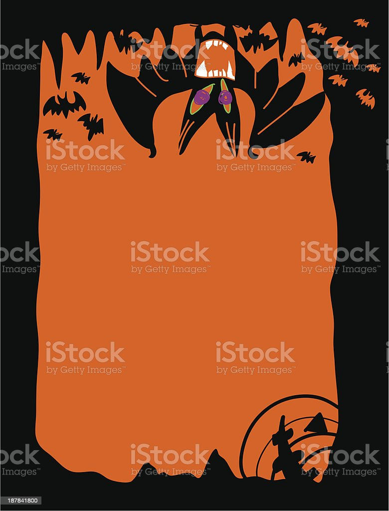 Bat halloween postcard royalty-free stock vector art