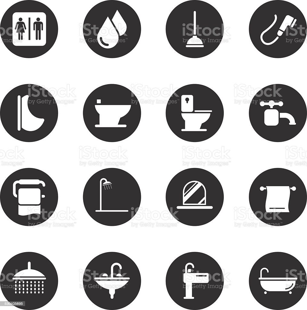 Bath and Bathroom Icons - Black Circle Series vector art illustration