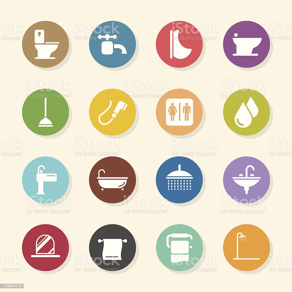 Bath and Bathroom Icons - Color Circle Series vector art illustration